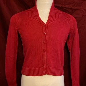 Talbots red button up sweater.
